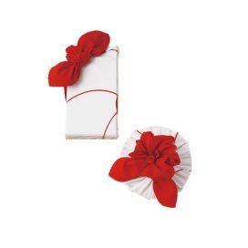 Furoshiki Plum Red Box Wrapping Example
