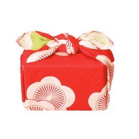 Gift Wrapping Cloth - Reversible Furoshiki - Isa Monyo - Plum - Red & Green - Wrapping Image